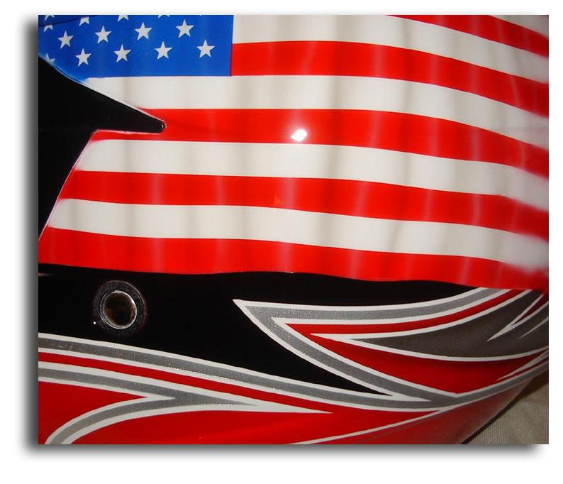 custom painted helmet gallery - tattered usa flag