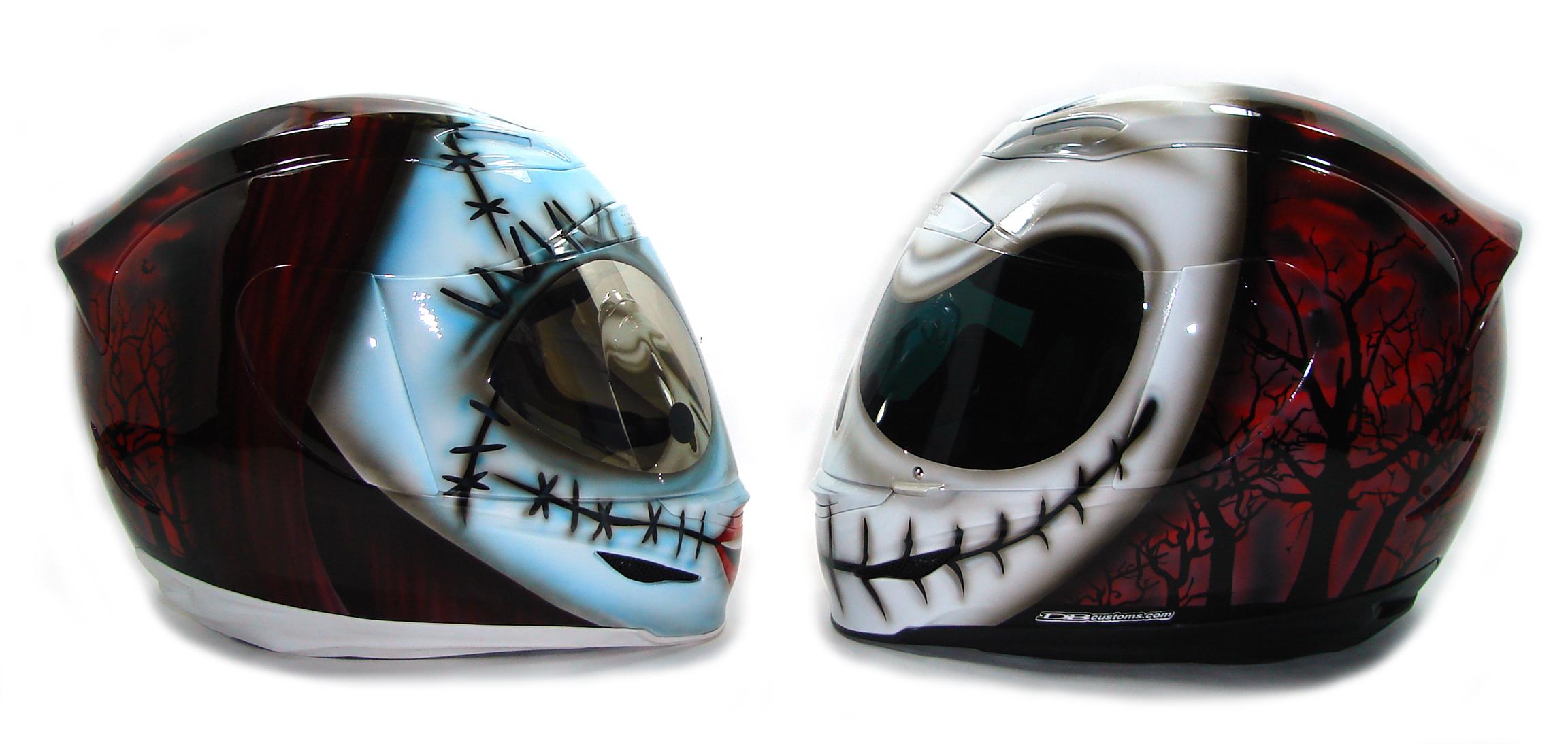 Custom Painted Helmet Gallery - Jack and Sally - Nightmare Before ...