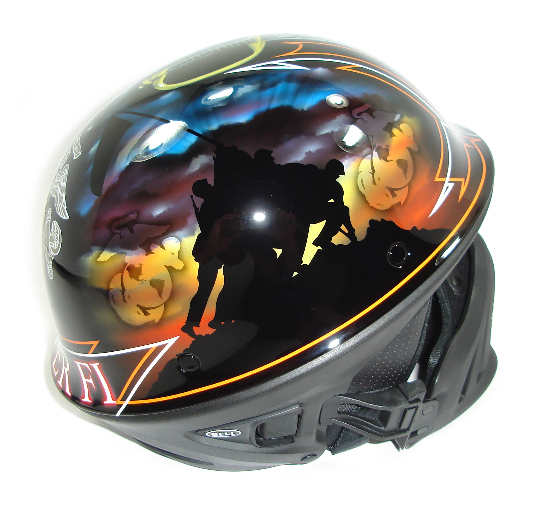 Bell Motorcycle Helmet >> Custom Painted Helmet Gallery - USMC Custom Helmet